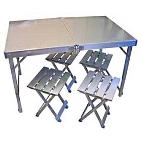 Фото 1 к товару Стол складной + 4 стула (алюминий)