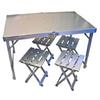 Стол складной + 4 стула (алюминий) - фото 1