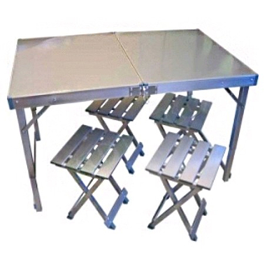 Стол складной + 4 стула (алюминий)