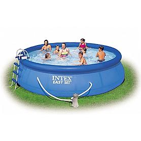 Фото 1 к товару Бассейн надувной Intex 56912 (457x122 см) с фильтрующим насосом и аксессуарами