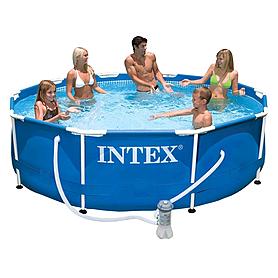 Фото 1 к товару Бассейн каркасный Intex 56999 (305x76 см) с фильтрующим насосом