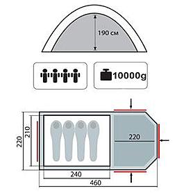 Фото 2 к товару Палатка четырехместная кемпинговая Sol Curochio