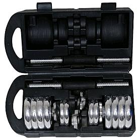 Фото 1 к товару Гантели наборные хромированные в коробке 2 шт по 7,5 кг SS-SC-8034-15