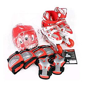Фото 3 к товару Коньки роликовые раздвижные + защита Joerex JRO09702 красные