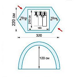 Фото 2 к товару Палатка трехместная Tramp Nishe 3