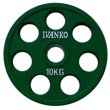 Диск обрезиненный олимпийский 10 кг Ivanko RCP19-10 цветной - 51 мм