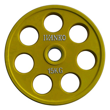 Диск обрезиненный олимпийский 15 кг Ivanko RCP19-15 цветной - 51 мм