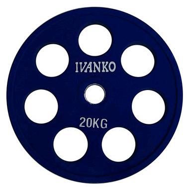 Диск обрезиненный олимпийский 20 кг Ivanko RCP19-20 цветной - 51 мм