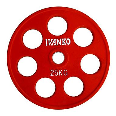 Диск обрезиненный олимпийский 25 кг Ivanko RCP19-25 цветной - 51 мм