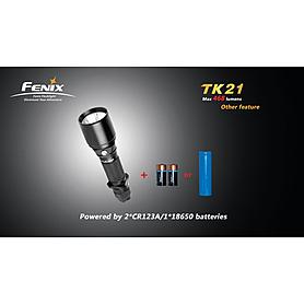 Фото 5 к товару Набор (фонарь Fenix TK21, зарядное устройство, аккумулятор) +клипса на ремень в подарок