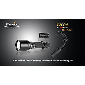 Фото 6 к товару Набор (фонарь Fenix TK21, зарядное устройство, аккумулятор) +клипса на ремень в подарок
