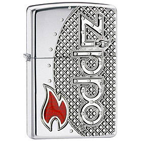 Зажигалка Zippo Flame Emblem Armor High Polish Chrome 24801
