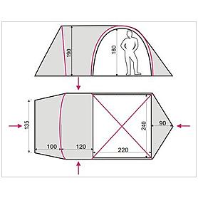 Фото 2 к товару Палатка четырехместная Terra incognita Olympia 4 песочная