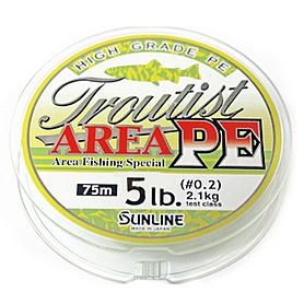 Шнур Sunline Troutist Area 75м 0,2PE 5Lb/2,1кг ярко-зеленый
