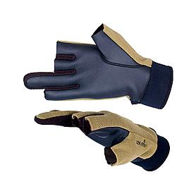 Фото 1 к товару Перчатки ветрозащитные с обрезными пальцами Norfin (черные/хаки)
