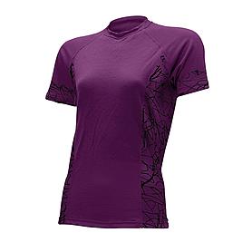 Термофутболка женская Lasting Sisi (фиолетовая с черным узором)