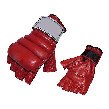 Перчатки без пальцев кожаные Everlast (красные)