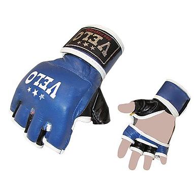 Перчатки без пальцев кожаные Velo Pro Fight (синие)