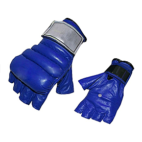 Фото 1 к товару Перчатки без пальцев кожаные Everlast (синие)