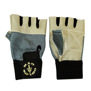 Перчатки без пальцев Gold Gym с сеткой