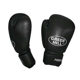 Распродажа*! Перчатки боксерские кожаные Green Hill Punch2 черные - 12 Oz