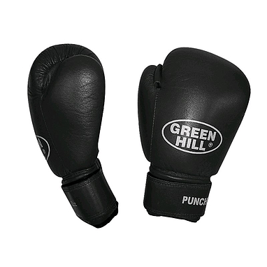 Перчатки боксерские кожаные Green Hill Punch2 черные