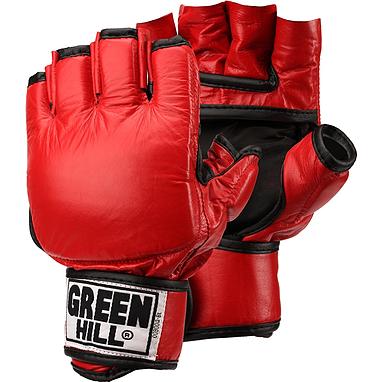 Перчатки без пальцев кожаные Green Hill (красные)