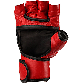 Фото 2 к товару Перчатки без пальцев кожаные Green Hill (красные)