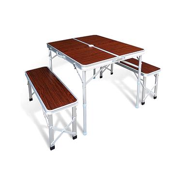 Cтол раскладной Grilly Ст-43 (90х60х70 см) + 2 раскладных скамейки (87х25х40 см)