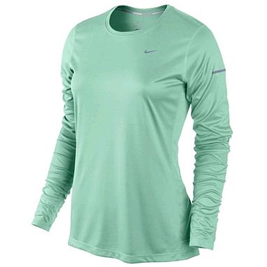 Футболка женская Nike Miler LS Top зеленый
