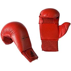Накладки для карате с защитой большого пальца Adidas WKF красные - L
