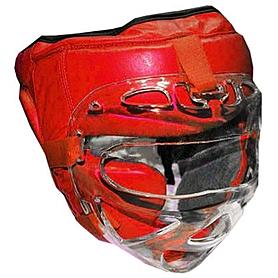 Фото 1 к товару Шлем с маской (кожа) Everlast красный