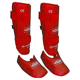 Распродажа*! Защита для ног (голень+стопа) разбирающаяся PU ZLT красная - размер XL
