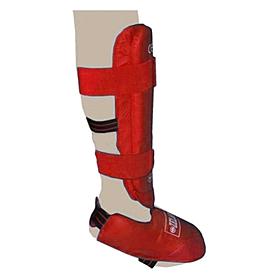Фото 2 к товару Защита для ног (голень+стопа) разбирающаяся PU ZLT красная
