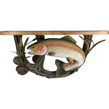 Полка деревянная с керамическим декором Rivers Edge