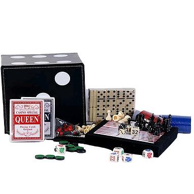Набор игр 6 в 1: шахматы, шашки, нарды, домино, кости, карты