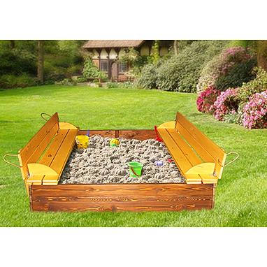 Песочница деревянная цветная с крышкой