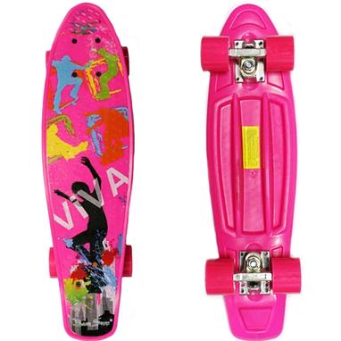 Скейтборд Penny Viva Cruiser Fish Line розовый