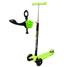 Фото 1 к товару Самокат трехколесный с наклоном руля и толкателем 21st Scooter 4в1 M-39 зеленый