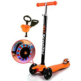 Самокат трехколесный с наклоном руля и толкателем 21st Scooter 4в1 G-38 оранжевый