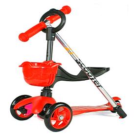 Фото 1 к товару Самокат трехколесный с наклоном руля и толкателем 21st Scooter 3в1 Z-97 красный