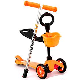 Фото 1 к товару Самокат трехколесный с наклоном руля и толкателем 21st Scooter 3в1 Z-97 оранжевый