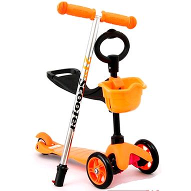 Самокат трехколесный с наклоном руля и толкателем 21st Scooter 3в1 Z-97 оранжевый