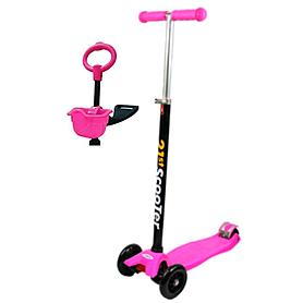 Фото 1 к товару Самокат трехколесный с наклоном руля и толкателем 21st Scooter 4в1 M-39 розовый