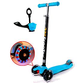 Фото 1 к товару Самокат трехколесный с наклоном руля и толкателем 21st Scooter 4в1 G-38 синий