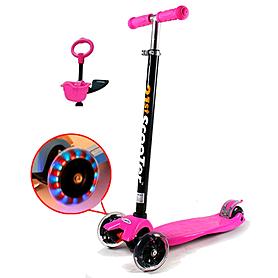 Фото 1 к товару Самокат трехколесный с наклоном руля и толкателем 21st Scooter 4в1 G-38 розовый