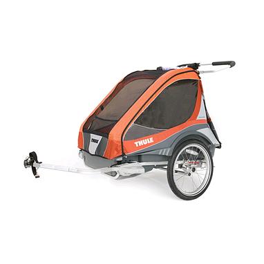 Велоколяска детcкая Thule Chariot Captain2 + набор колес, оранжевая