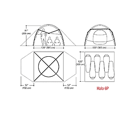 Фото 4 к товару Палатка шестиместная Marmot Halo 6 Tent pale pumpkin/terra cotta