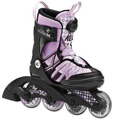 Коньки роликовые раздвижные K2 Charm X Boa 2014 черно-розовые