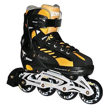Коньки роликовые раздвижные Tempish I-MAX junior черные с желтыми вставками